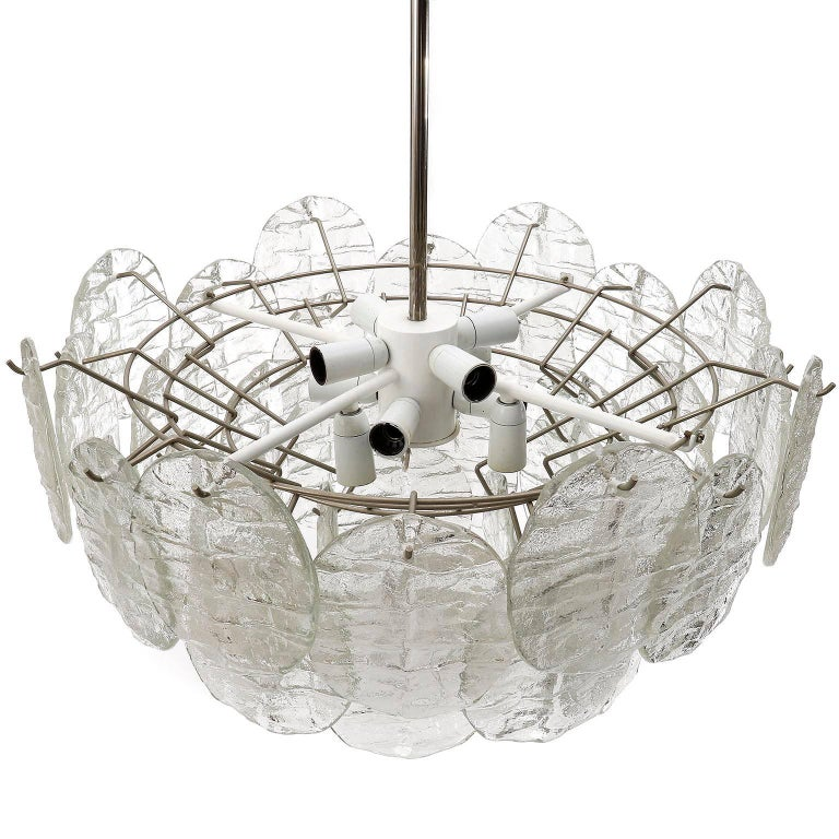 Austrian Kalmar Blatt Chandelier, Textured Glass Nickel, 1970s For Sale