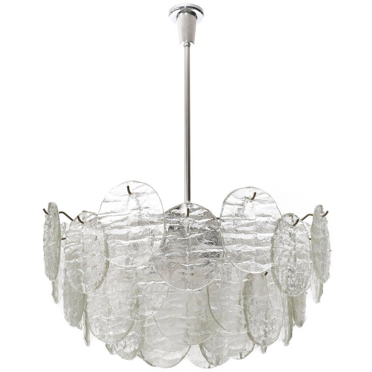 Enameled Kalmar Blatt Chandelier, Textured Glass Nickel, 1970s For Sale
