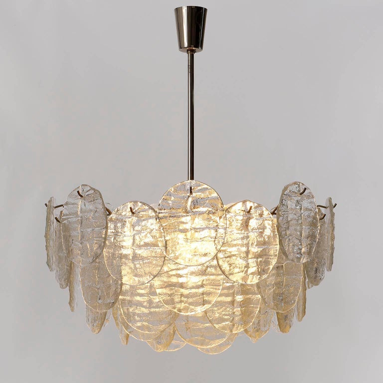 Kalmar Blatt Chandelier, Textured Glass Nickel, 1970s In Good Condition For Sale In Graz, AT