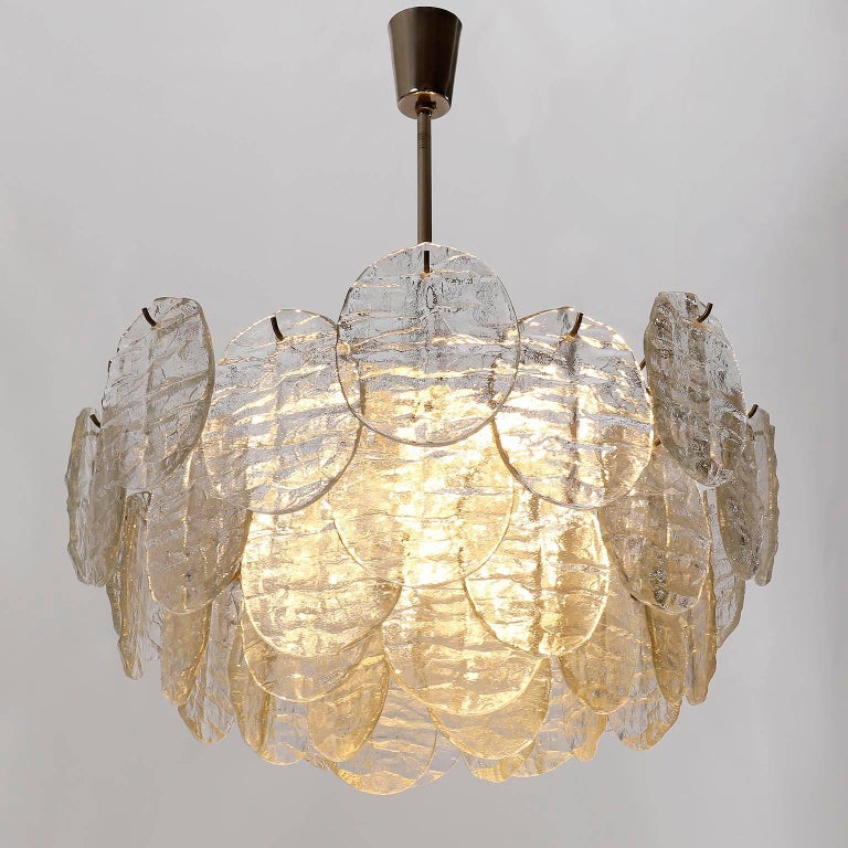 Late 20th Century Kalmar Blatt Chandelier, Textured Glass Nickel, 1970s For Sale