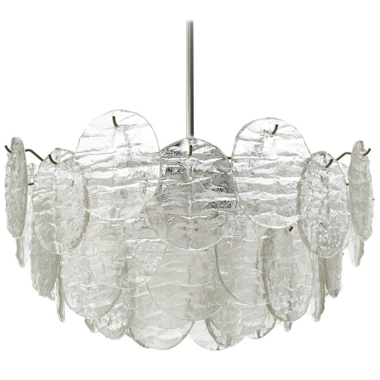 Kalmar Blatt Chandelier, Textured Glass Nickel, 1970s For Sale