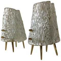 Kalmar Brass Murano Glass Table Nightstand Lamp Pair, Austria, 1960s