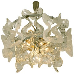 Kalmar Catena Murano Glass Chrome Chandelier, 1970s