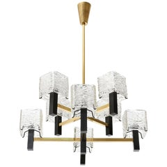 Kalmar Chandelier, Glass Brass Black Iron, 1960