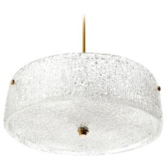 Kalmar Chandelier Light Fixture, Textured Glass and Brass, 1960