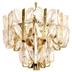 "Kalmar Chandelier or Pendant Light ""Florida"", Crystal Glass and Brass, 1970"