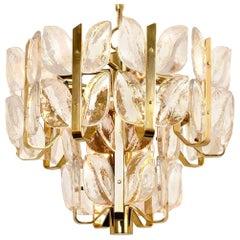 "Kalmar Chandelier or Pendant Light ""Florida"", Crystal Glass and Brass, 1970"