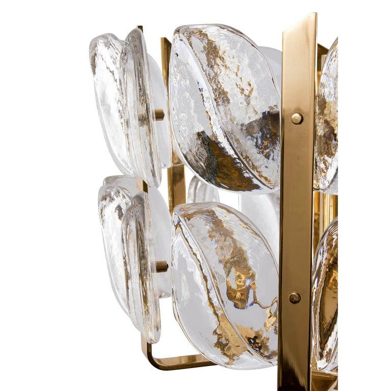 Kalmar Chandelier, Glass Brass, 1970 For Sale 3