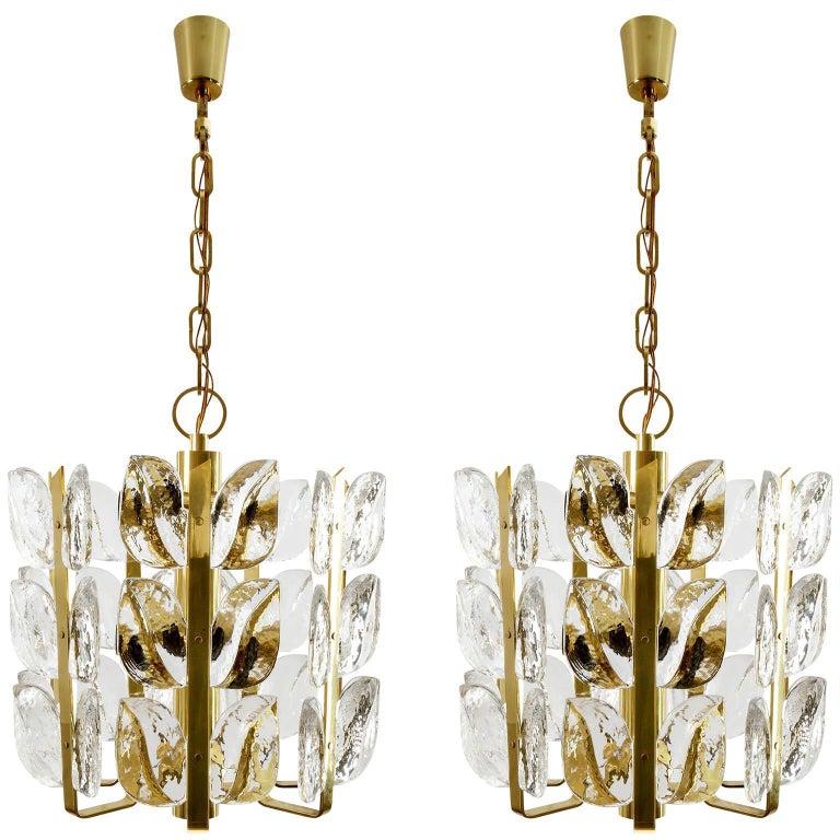 Kalmar Chandelier, Glass Brass, 1970 For Sale 5