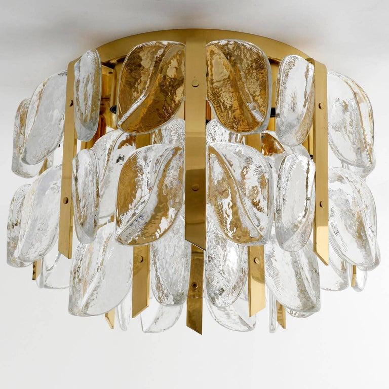 Kalmar Chandelier, Glass Brass, 1970 For Sale 6