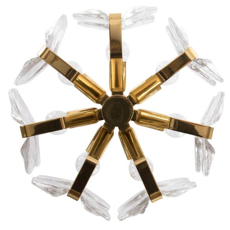Polished Kalmar Chandelier, Glass Brass, 1970 For Sale