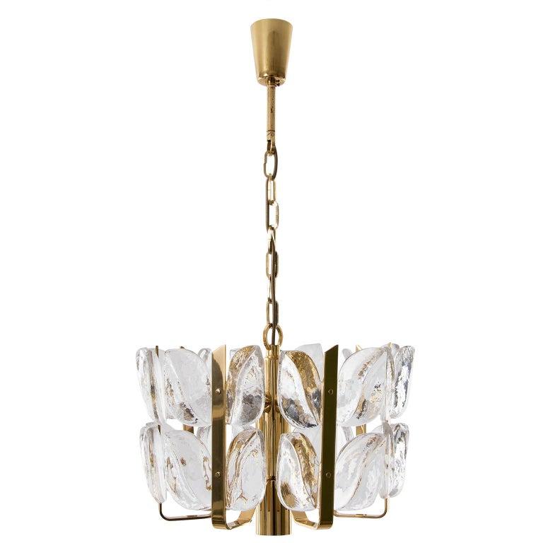 Kalmar Chandelier, Glass Brass, 1970 In Good Condition For Sale In Vienna, AT