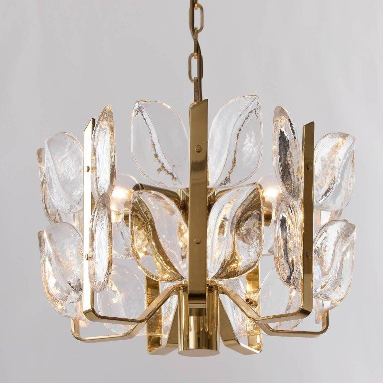 Late 20th Century Kalmar Chandelier, Glass Brass, 1970 For Sale