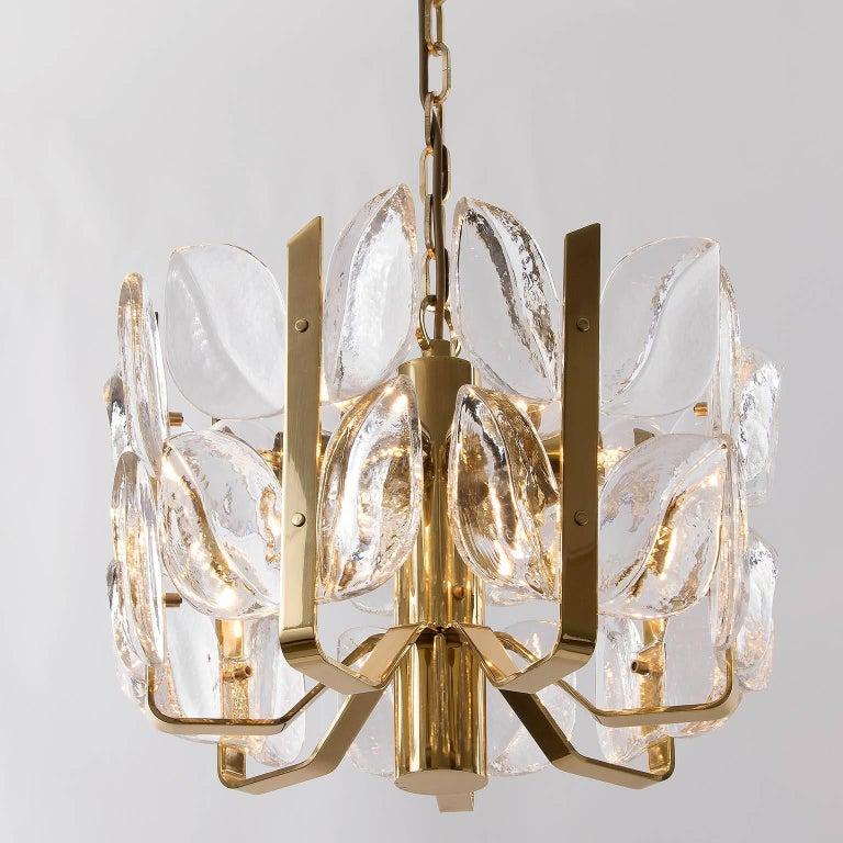 Kalmar Chandelier, Glass Brass, 1970 For Sale 1