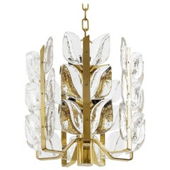 Kalmar Chandelier or Pendant Light 'Florida', Glass and Brass, 1970