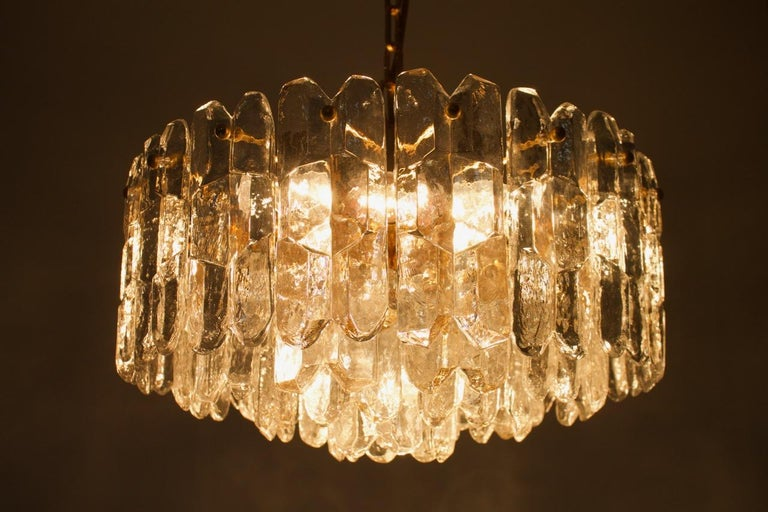 Late 20th Century Kalmar Chandelier Palazzo Gilt Brass and Glass Austria, 1970s For Sale