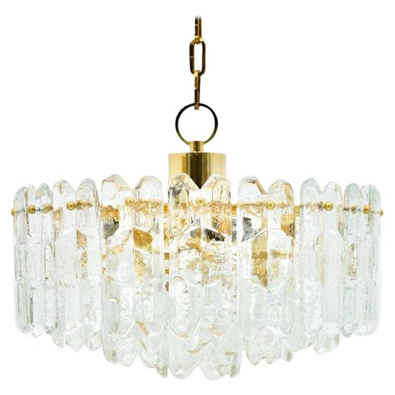 Kalmar Chandelier Palazzo Gilt Brass and Glass Austria, 1970s For Sale