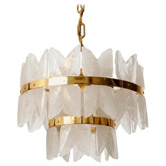 Kalmar Chandelier Pendant Light 'Corina', Gilt Brass and Glass, 1970