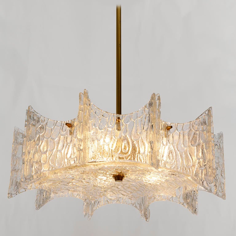 Kalmar Chandelier Pendant Light, Glass Brass, 1970 For Sale 3