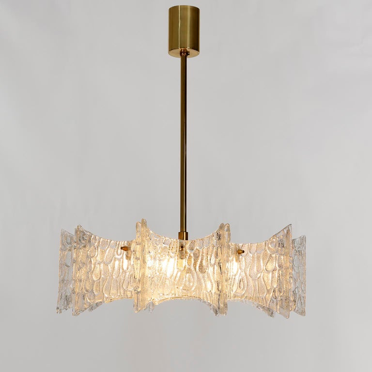 Kalmar Chandelier Pendant Light, Glass Brass, 1970 For Sale 5