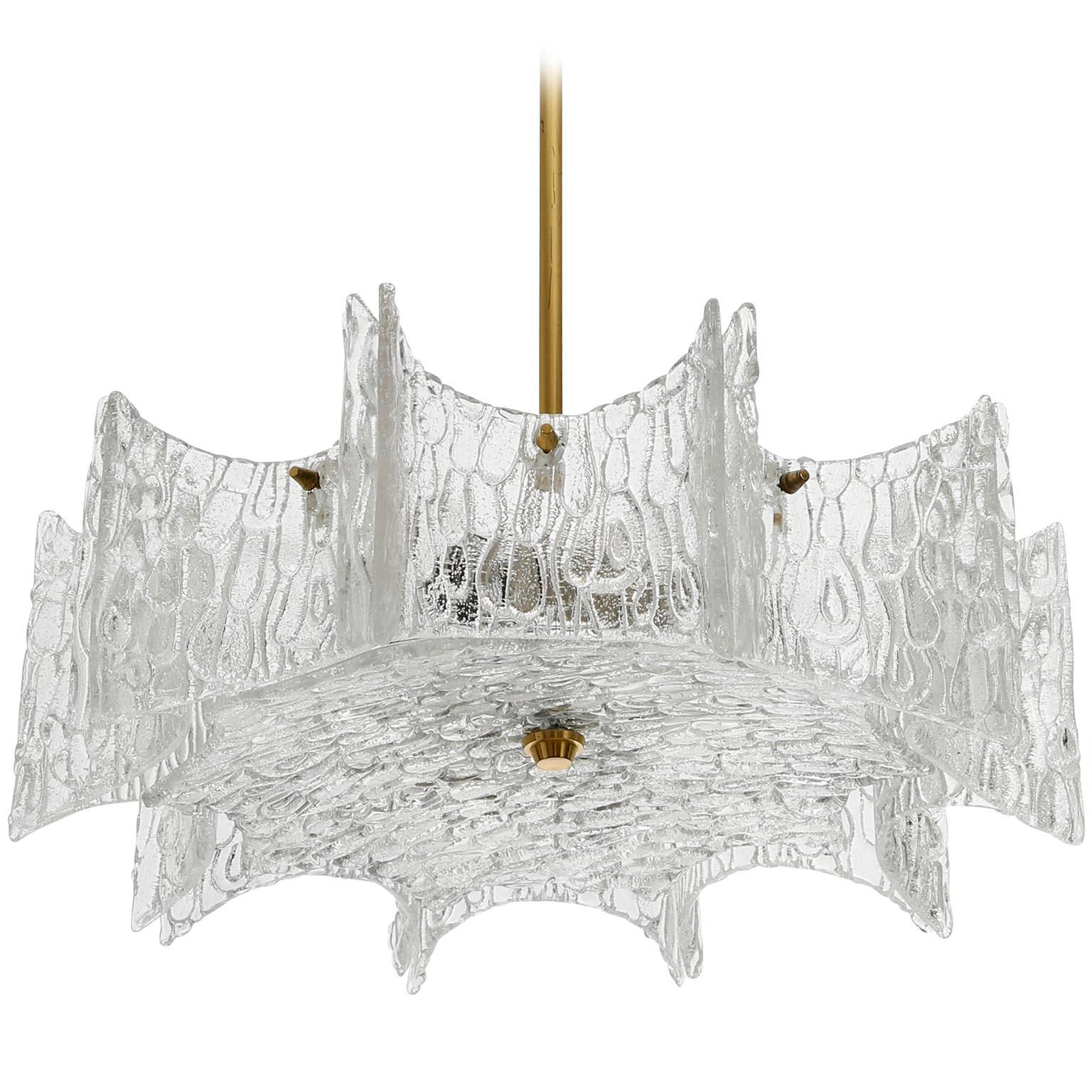 Kalmar Chandelier Pendant Light, Glass Brass, 1970