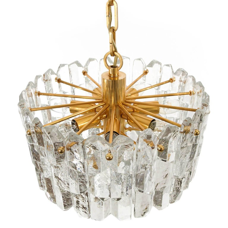 Kalmar Chandelier Pendant Light 'Palazzo', Gilt Brass Glass, 1970, 1 of 2 In Excellent Condition For Sale In Vienna, AT