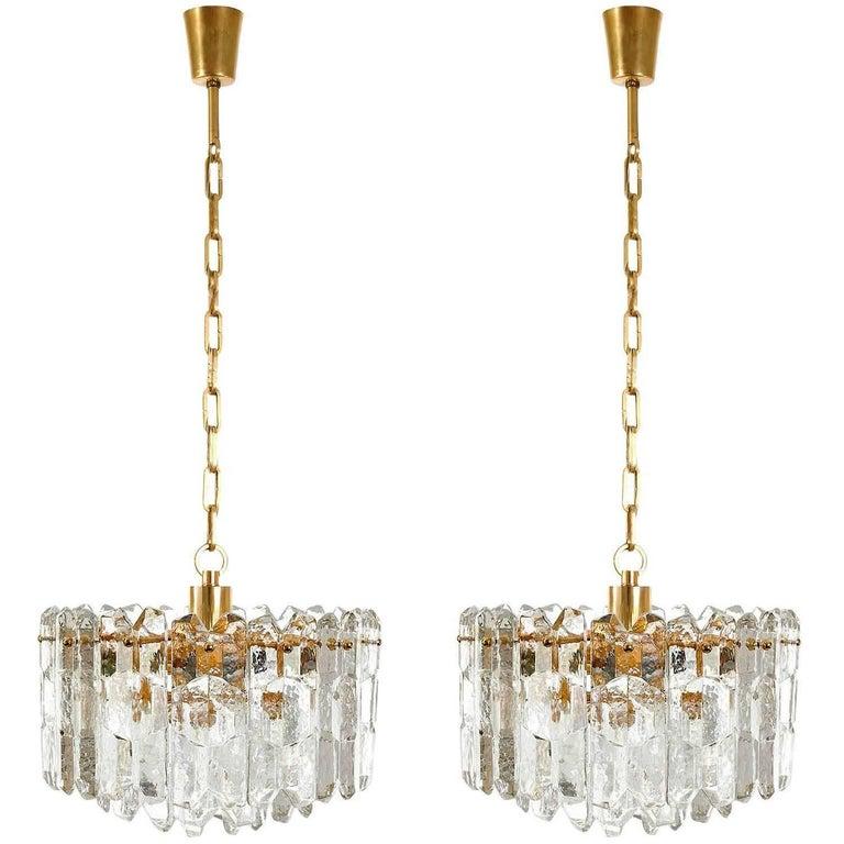 Late 20th Century Kalmar Chandelier Pendant Light 'Palazzo', Gilt Brass Glass, 1970, 1 of 2 For Sale