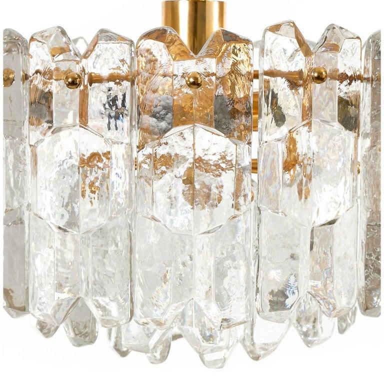 Kalmar Chandelier Pendant Light 'Palazzo', Gilt Brass Glass, 1970, 1 of 2 For Sale 1