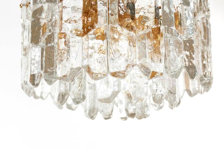 Kalmar Chandelier Pendant Light 'Palazzo', Gilt Brass Glass, 1970, 1 of 2 For Sale 2