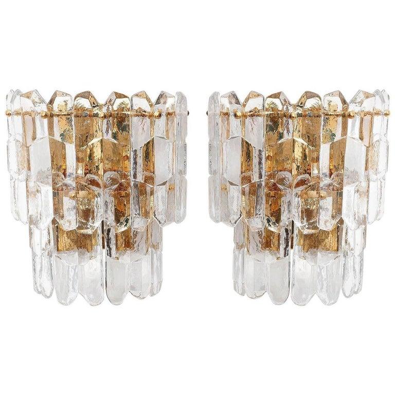 Kalmar Chandelier Pendant Light 'Palazzo', Gilt Brass Glass, 1970, 1 of 2 For Sale 3