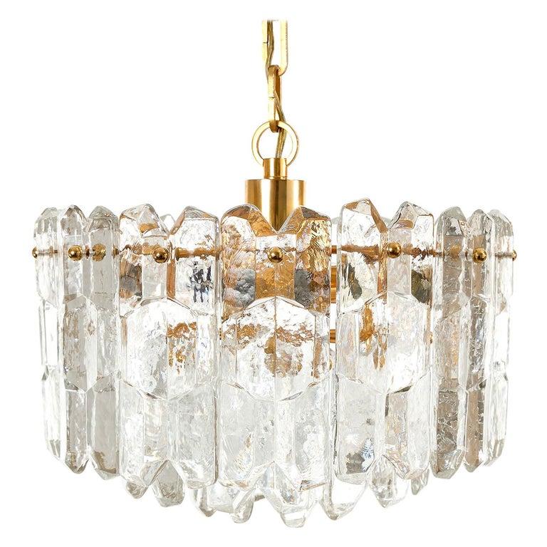 Kalmar Chandelier Pendant Light 'Palazzo', Gilt Brass Glass, 1970, 1 of 2 For Sale