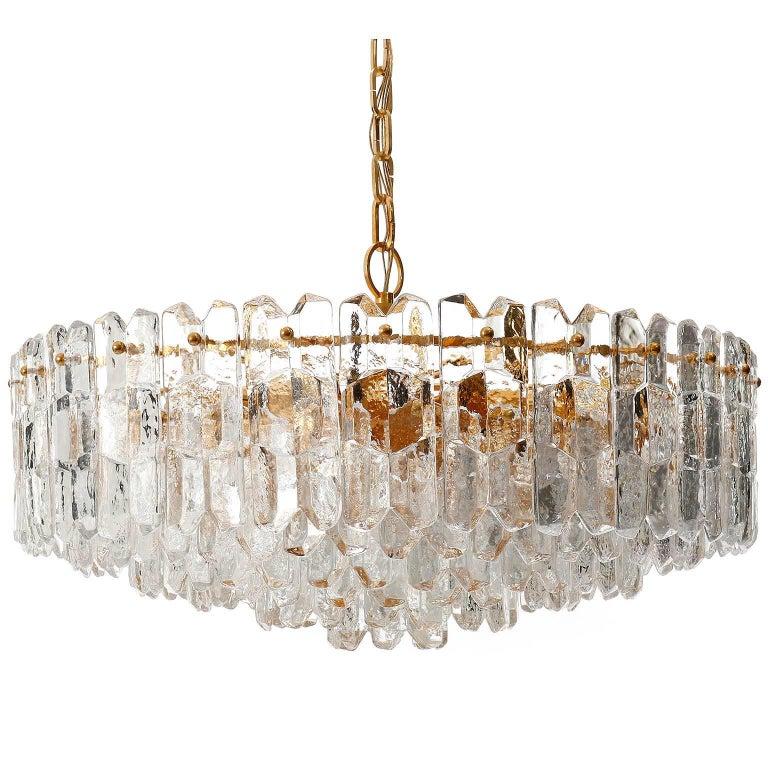 Kalmar Chandelier Pendant Light 'Palazzo', Gilt Brass Glass, 1970, One of Two