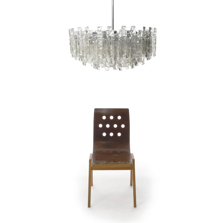 Kalmar Chandelier 'Soria', Ice Glass and Nickel, 1970, One of Three In Excellent Condition For Sale In Graz, AT