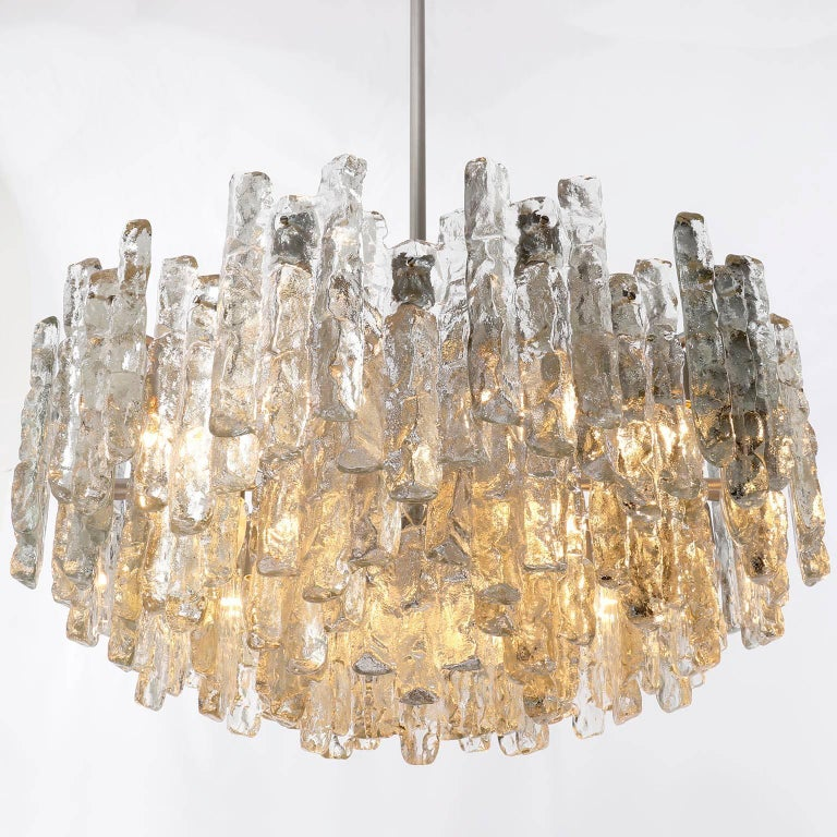 Late 20th Century Kalmar Chandelier 'Soria', Ice Glass and Nickel, 1970, One of Three For Sale