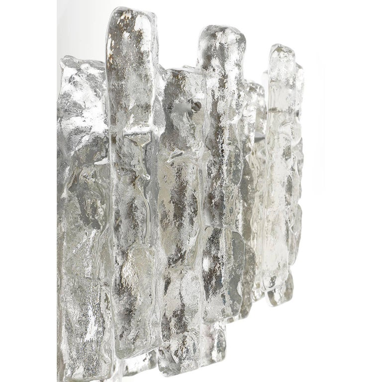 Kalmar Chandelier 'Soria', Ice Glass and Nickel, 1970, One of Three For Sale 2