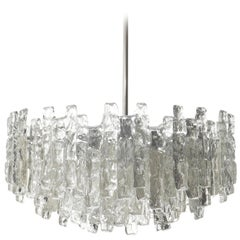 Kalmar Chandelier 'Soria', Ice Glass and Nickel, 1970, One of Three