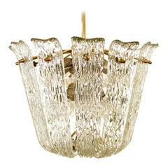 Kalmar Chandelier Vienna Curved and Textured Glass Brass Mid-Century Modern 1955