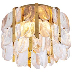 1960s Austria Kalmar Flush Mount 'Florida' Glass Flowers on Brass