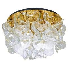 Kalmar Flush Mount Light 'Catena', Brass Murano Glass, 1970