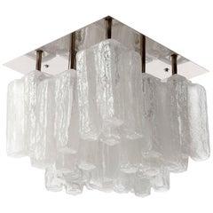 Kalmar Flush Mount Light 'Granada', Opal Ice Glass and Nickel, 1970, One of Nine