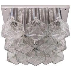 Kalmar Flush Mount Light or Sconce, Nickel Plated, Cast Ice Glass, circa 1970