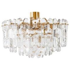 Kalmar Flush Mount Light 'Palazzo', Gilt Brass Glass, 1970s