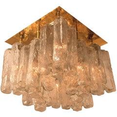 "Kalmar Glass Brass and Wood Flush Mount ""Granada"" , Austria, 1960"