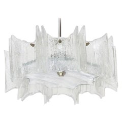 Kalmar Glass Chandelier Pendant Light Fixture, circa 1960
