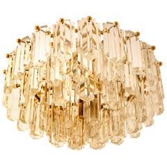 Kalmar Light Fixture/ Flushmount Gilt Brass and Glass, 1970