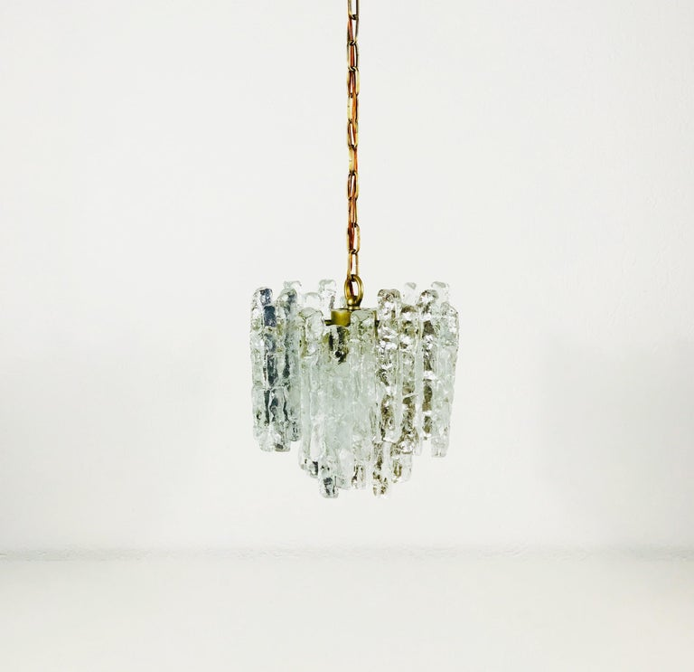 Brass Kalmar Midcentury Ice Crystal Glass Pendant Light or Chandelier, circa 1960s For Sale