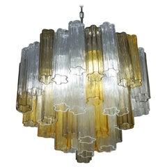 Kalmar Mid-Century Modern Amber Crystal Murano Glass Tronchi Chandelier, 1980s