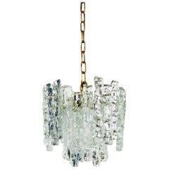 Kalmar Midcentury Ice Crystal Glass Pendant Light or Chandelier, circa 1960s