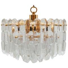 """Kalmar Modernist Three Tiered Textured """"Palazzo"""" Glass Chandelier"""