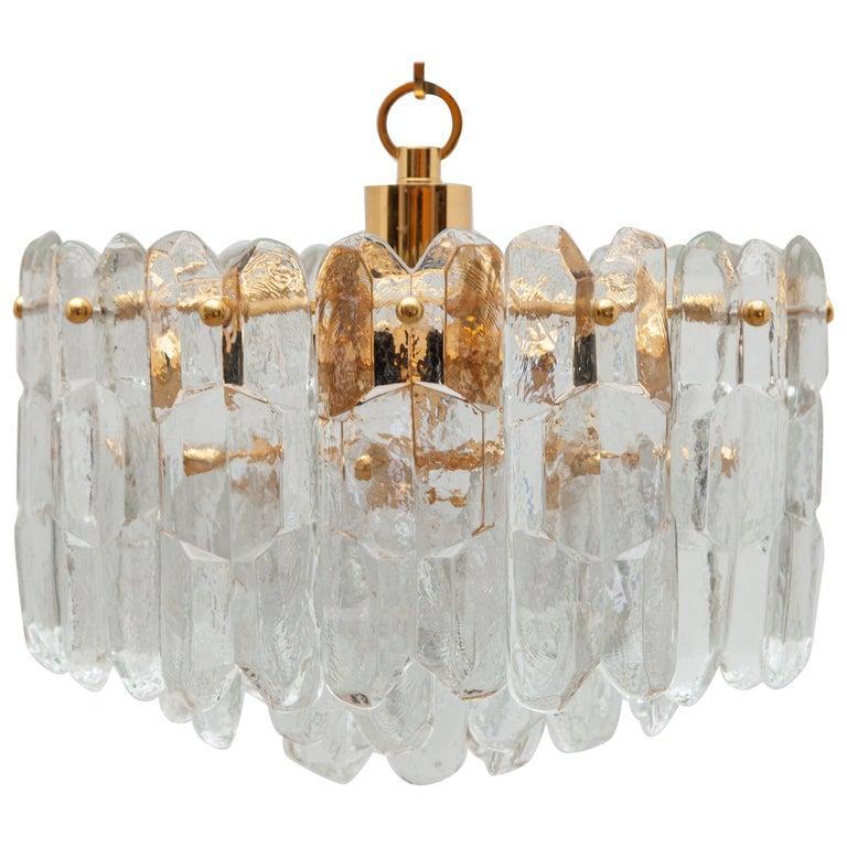 "Kalmar Modernist Three Tiered Textured ""Palazzo"" Glass Chandelier For Sale"